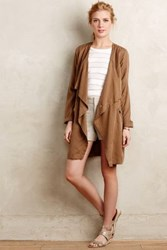 Anthropologie Draped Daytripper Trench Bronze
