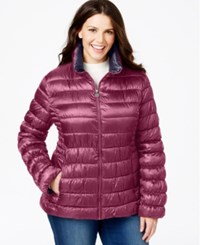Inc International Concepts Plus Size Packable Puffer Coat Peony Marine