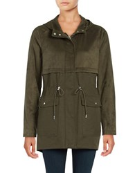 Vince Camuto Hooded Faux Suede Anorak Jacket Deep Olive