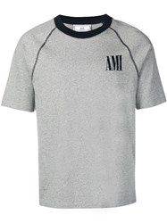 Ami Alexandre Mattiussi Bicolor Crewneck T Shirt With Print Grey