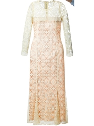 Biba Vintage Embroidered Sheer Dress Nude And Neutrals