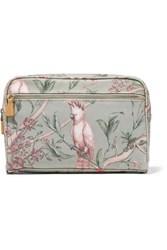 Aerin Beauty Johanna Ortiz Green Bird Medium Printed Canvas Cosmetics Case