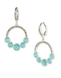 Judith Jack Turquoise And Marcasite Sterling Silver Drop Earrings