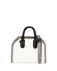 Stella Mccartney Falabella Mini Crocodile Embossed Box Satchel Bag Ivory