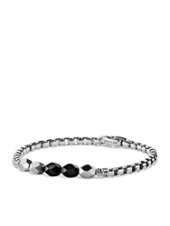 David Yurman Faceted Silver And Black Onyx Beaded Bracelet