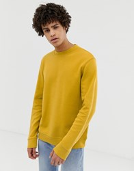 Selected Homme Sweatshirt With Raised Neck In Pique Jersey Yellow