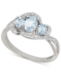 Macy's Aquamarine 3 4 Ct. T.W. And Diamond 1 8 Ct. T.W. Three Stone Ring In 14K White Gold