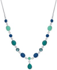 Nine West Silver Tone Blue Stone Lariat Necklace
