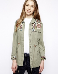 Bellfield Festival Parka With Tapestry Trim Green