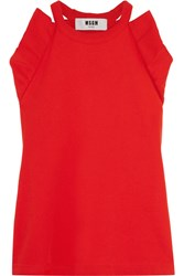 Msgm Ruffled Cotton Terry Top Red