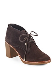 Tory Burch Hilary Fur Lined Suede Lace Up Booties Coconut