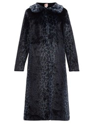 Shrimps Patrick Leopard Print Faux Fur Coat Navy