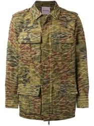 Palm Angels Camouflage Print Military Jacket Green