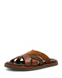 Frye Men's Andrew Leather And Suede Strap Sandal Brown Dark Brown