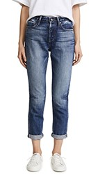 Tortoise Dory High Waisted Tapered Crop Jeans Dark Snow Blue