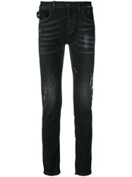 Frankie Morello Jewelled Slim Jeans Black