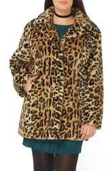 Evans Plus Size Women's Leopard Print Faux Fur Coat