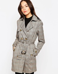 Glamorous Belted Mac In Check Browncheck