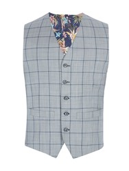 Gibson Men's Grey Vest With Blue Overcheck Vest Grey