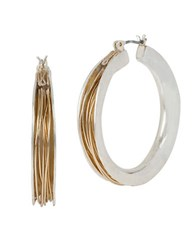 Robert Lee Morris Wire Wrapped Hoop Earrings 1.5 In Two Tone
