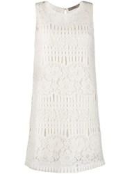 D.Exterior Crochet Embellished Dress White