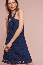 Anthropologie Floral Lace Halter Dress Navy