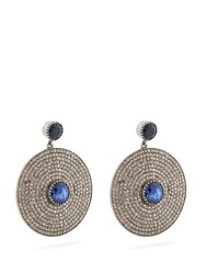Jade Jagger Diamond Sapphire And White Gold Earrings Blue