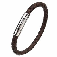 N'damus London Mens Brown Leather Plaited Bracelet With Silver Clasp