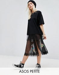Asos Petite Sheer Tulle Midi Skirt With Badging Black