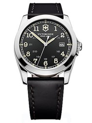 Victorinox Mens Infantry Stainless Steel And Leather Watch Black