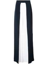 Cushnie Et Ochs Contrast Flared Trousers Women Silk 2 Blue