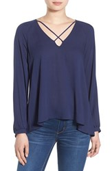 Lush Women's Strappy Long Sleeve Woven Blouse Peacoat
