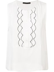 Jenni Kayne Scalloped Panel Blouse White