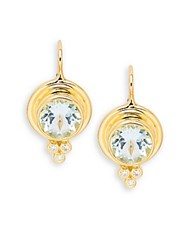 Temple St. Clair Faceted Aquamarine Diamond And 18K Yellow Gold Classic Round Earrings