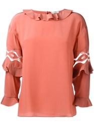 Fendi Ruffled Blouse Yellow And Orange