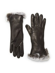 Saks Fifth Avenue Rabbit Cuff Leather Gloves Black