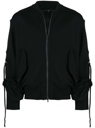 Ann Demeulemeester Zipped Gathered Sleeve Sweatshirt Black