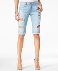 Guess Tomboy Ripped Littlefield Wash Denim Bermuda Shorts Littlefield W. Heavy Destroy W
