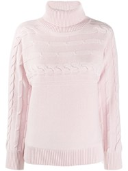 Peserico Cable Knit Turtleneck Jumper Pink
