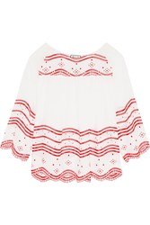 Paul And Joe Broderie Anglaise Cotton Voile Blouse White