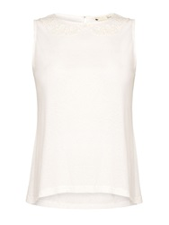Yumi Lace Collar Shell Top White