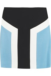 Emilio Pucci Colour Block Stretch Wool Crepe Mini Skirt Blue