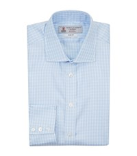 Turnbull And Asser Mini Houndstooth Stripe Slim Fit Shirt Blue