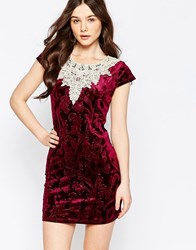 Jasmine Velvet Dress With Crochet Top Burgindy Purple