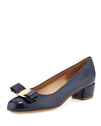 Salvatore Ferragamo Vara 1 Patent Bow Pump Oxford Blue