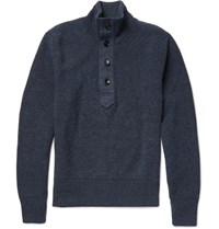 Tom Ford Ribbed Cashmere And Linen Blend Sweater Navy