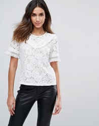 Amy Lynn Short Sleeve Crochet Lace Top With Ruffle Detail White