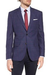 Ted Baker London Jay Trim Fit Plaid Wool And Linen Sport Coat Blue