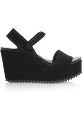 Pedro Garcia Dorothy Suede Wedge Sandals Black
