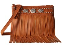American West Saratoga Fringe Crossbody Golden Tan Cross Body Handbags